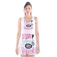I Love You My Valentine / Our Two Hearts Pattern (white) Scoop Neck Skater Dress