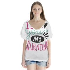 I Love You My Valentine / Our Two Hearts Pattern (white) Flutter Sleeve Top