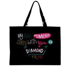 My Every Moment Spent With You Is Diamond To Me / Diamonds Hearts Lips Pattern (black) Zipper Mini Tote Bag