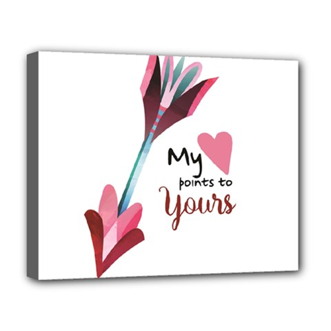 My Heart Points To Yours / Pink And Blue Cupid s Arrows (white) Deluxe Canvas 20  X 16
