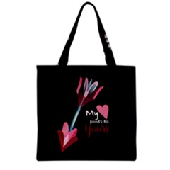 My Heart Points To Yours / Pink And Blue Cupid s Arrows (black) Grocery Tote Bag