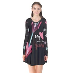 My Heart Points To Yours / Pink And Blue Cupid s Arrows (black) Flare Dress