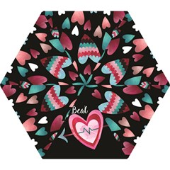 You Are My Beat / Pink And Teal Hearts Pattern (black)  Mini Folding Umbrellas