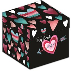 You Are My Beat / Pink And Teal Hearts Pattern (black)  Storage Stool 12