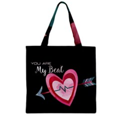 You Are My Beat / Pink And Teal Hearts Pattern (black)  Zipper Grocery Tote Bag