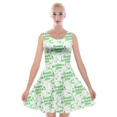 Saint Patrick Motif Pattern Velvet Skater Dress
