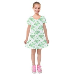 Saint Patrick Motif Pattern Kids  Short Sleeve Velvet Dress