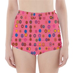 Circles Abstract Circle Colors High-Waisted Bikini Bottoms