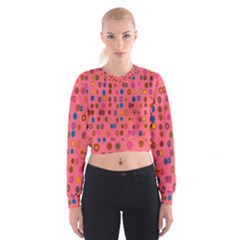 Circles Abstract Circle Colors Women s Cropped Sweatshirt