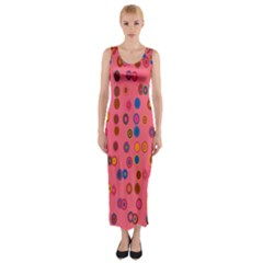 Circles Abstract Circle Colors Fitted Maxi Dress