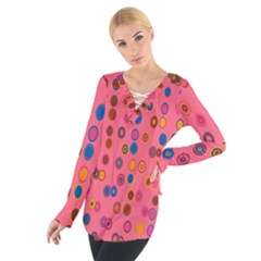 Circles Abstract Circle Colors Women s Tie Up Tee