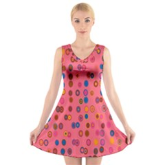 Circles Abstract Circle Colors V Neck Sleeveless Skater Dress