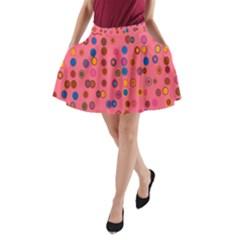 Circles Abstract Circle Colors A-Line Pocket Skirt