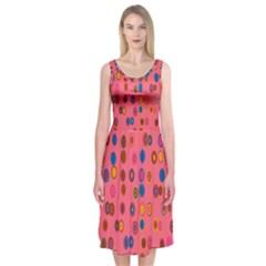 Circles Abstract Circle Colors Midi Sleeveless Dress
