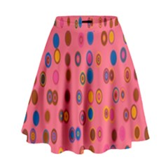 Circles Abstract Circle Colors High Waist Skirt