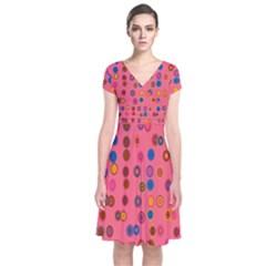 Circles Abstract Circle Colors Short Sleeve Front Wrap Dress