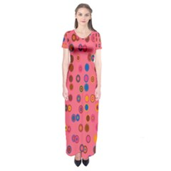 Circles Abstract Circle Colors Short Sleeve Maxi Dress