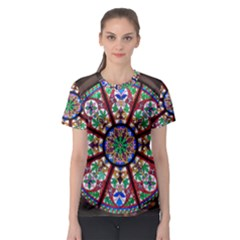 Church Window Window Rosette Women s Sport Mesh Tee