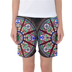 Church Window Window Rosette Women s Basketball Shorts