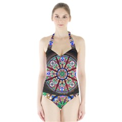 Church Window Window Rosette Halter Swimsuit