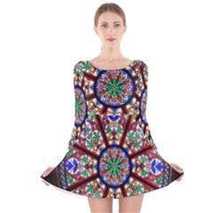 Church Window Window Rosette Long Sleeve Velvet Skater Dress