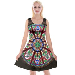Church Window Window Rosette Reversible Velvet Sleeveless Dress