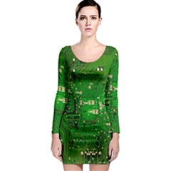 Circuit Board Long Sleeve Bodycon Dress