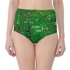 Circuit Board High-Waist Bikini Bottoms