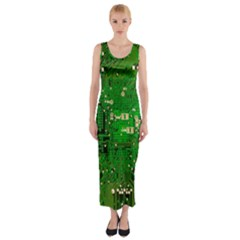 Circuit Board Fitted Maxi Dress