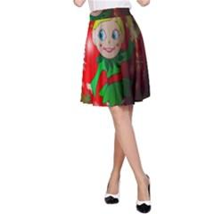 Christmas Wreath Ball Decoration A-Line Skirt