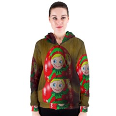 Christmas Wreath Ball Decoration Women s Zipper Hoodie