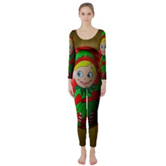 Christmas Wreath Ball Decoration Long Sleeve Catsuit