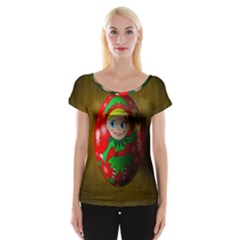 Christmas Wreath Ball Decoration Women s Cap Sleeve Top