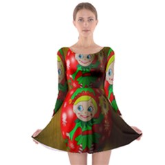 Christmas Wreath Ball Decoration Long Sleeve Skater Dress