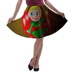 Christmas Wreath Ball Decoration A-line Skater Skirt