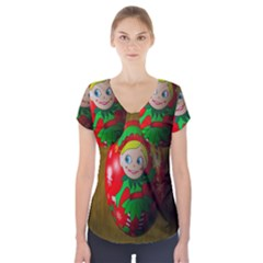 Christmas Wreath Ball Decoration Short Sleeve Front Detail Top