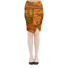 Circuit Midi Wrap Pencil Skirt