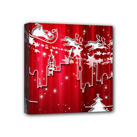 City Nicholas Reindeer View Mini Canvas 4  x 4