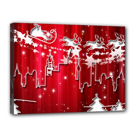 City Nicholas Reindeer View Canvas 16  x 12