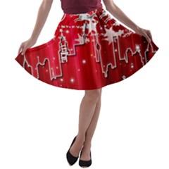 City Nicholas Reindeer View A-line Skater Skirt