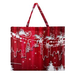 City Nicholas Reindeer View Zipper Large Tote Bag