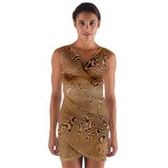 Circuit Board Pattern Wrap Front Bodycon Dress