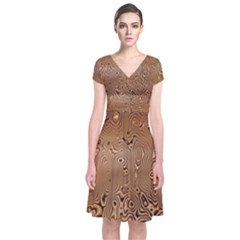 Circuit Board Pattern Short Sleeve Front Wrap Dress
