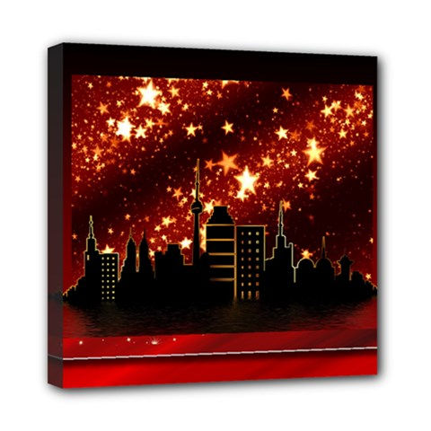 City Silhouette Christmas Star Mini Canvas 8  X 8