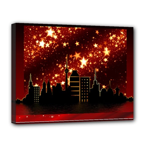 City Silhouette Christmas Star Canvas 14  x 11