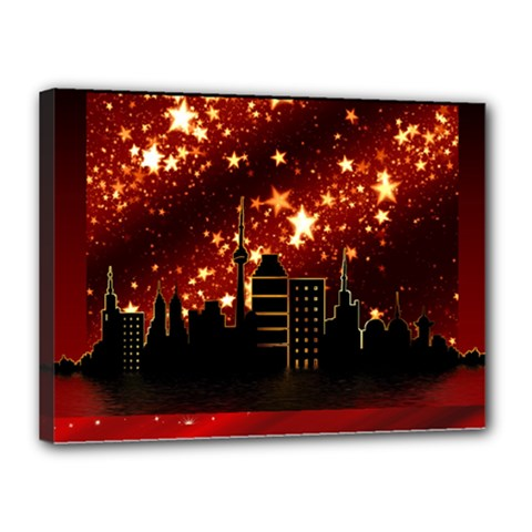 City Silhouette Christmas Star Canvas 16  x 12