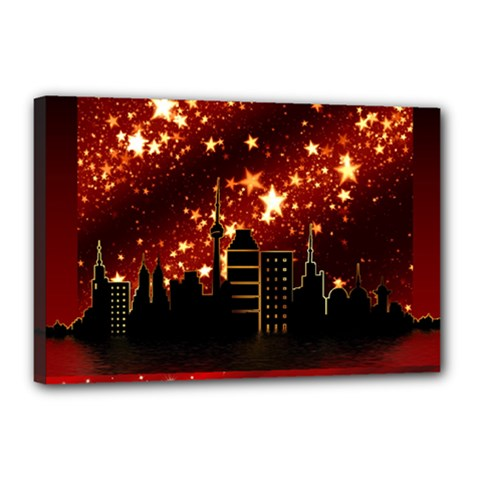 City Silhouette Christmas Star Canvas 18  x 12