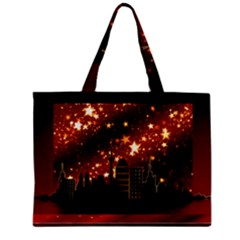 City Silhouette Christmas Star Zipper Mini Tote Bag