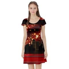 City Silhouette Christmas Star Short Sleeve Skater Dress