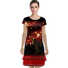 City Silhouette Christmas Star Cap Sleeve Nightdress